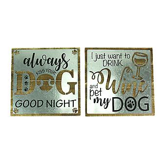 Wine and Dog Lovers 2 Piece Rustic Wall Decor Set