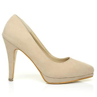 EMMA Nude Faux Suede Stiletto High Heel Platform Pointed Shoes
