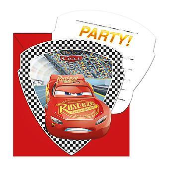 Invitasjon Invitasjoner invitasjon kort biler 3 barn fest bursdag 6 stykker