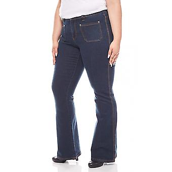 sheego pants women of stretch jeans plus size long size dark blue