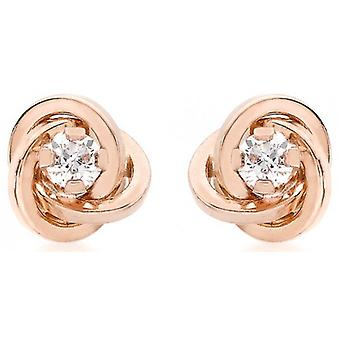 IBB London Knot Stud Earrings - Rose Gold/Silver
