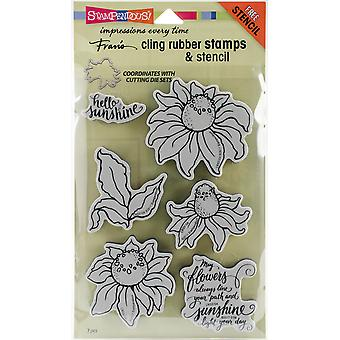 Stampendous Cling Stamp W/Template Set-Coneflower