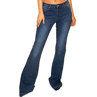 Wide Flared Jeans with Frayed Ends Very Long Leg - Dark Blue