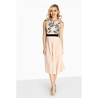 Little Mistress Luna Embroidered Midi With Pleated Skirt