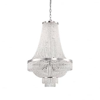 Ideal Lux Augustus 12 Bulb Chrome Waterfall Crystal Chandelier