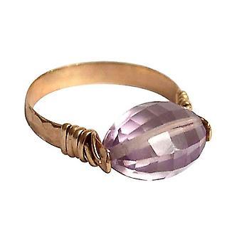 Gemshine - women's - ring - pull-ring - gold plated - Rose Quartz - pink
