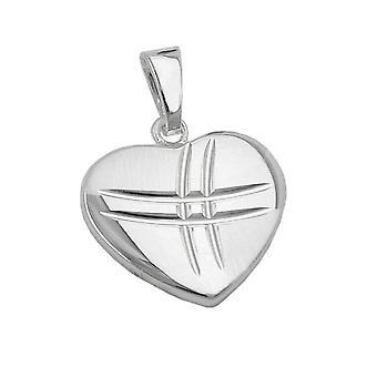 Colgante corazón corazón colgante diamante mate/brillante 925 la plata esterlina