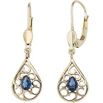 Les boucles d'oreilles or 2 Safire blue boucles d'oreilles saphir boutons 585 boucles d'oreilles or