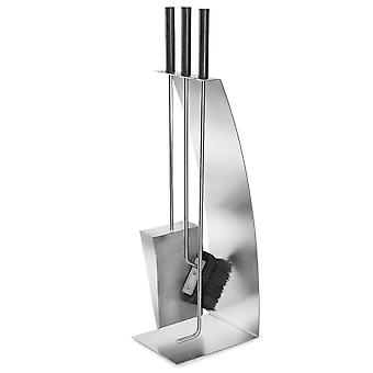 Blomus fireplace set CHIMO, stainless steel matt, 4 pieces