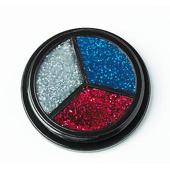 Trio glitter silver-red-blue