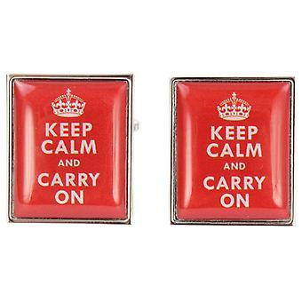 Zennor Keep Calm and Carry auf Manschettenknöpfe - rot