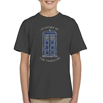 Doctor Who Id Rather Be Time Travelling White Text Kid's T-Shirt