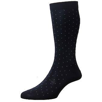 Pantherella Gadsbury Motif Pin Dot Cotton Lisle Socks - Navy
