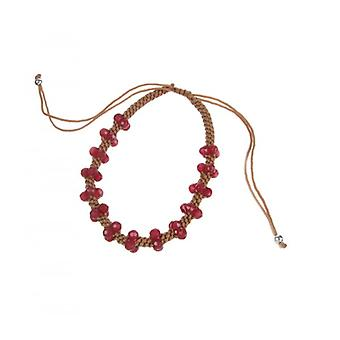 Cavendish French Beaded Plait Friendship Bracelet with Red Quartz Beads