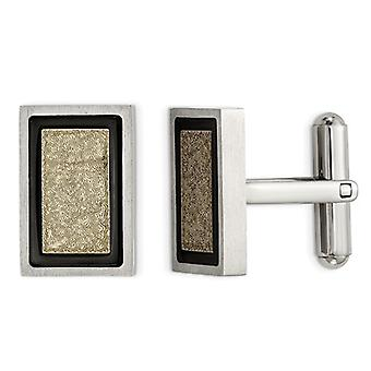 Stainless Steel Yellow Plated Brushed Cuff Links