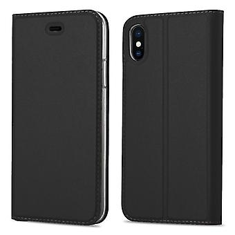 Cadorabo case for Apple iPhone X / XS - mobile case with stand function and compartment in the metallic look - case cover sleeve pouch bag book Klapp style