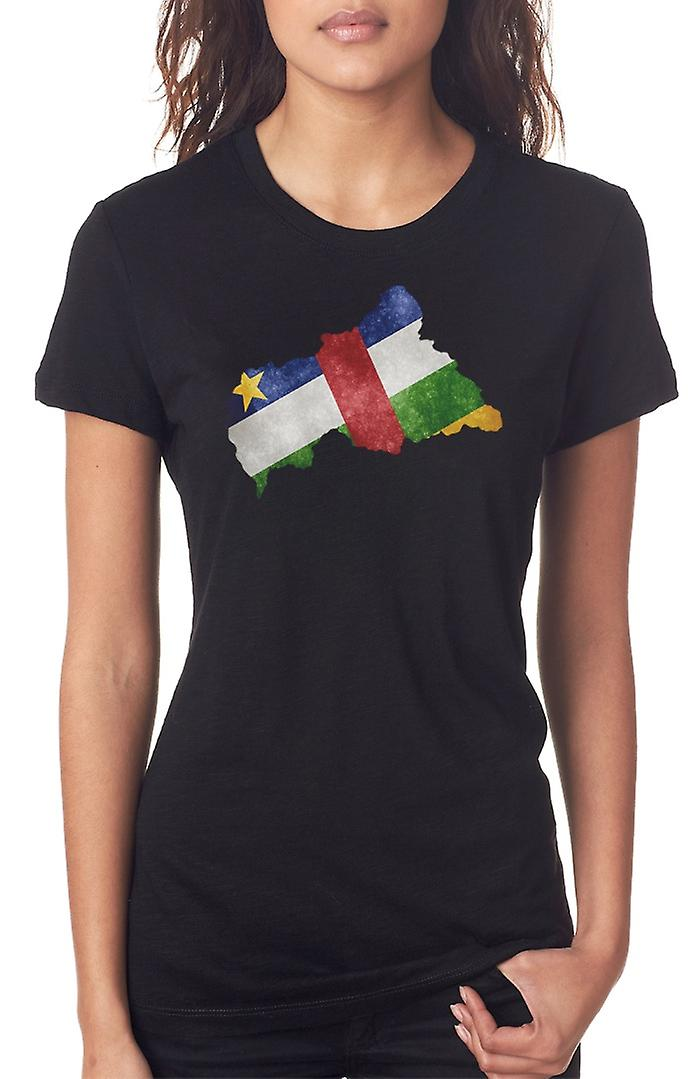 Central Africa Republic Flag Map Ladies T Shirt