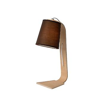 Lucide Nordic Scandinavian Wood Black And Light Wood Table Lamp