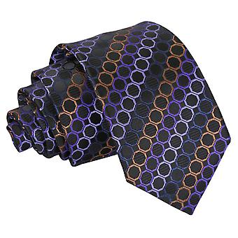 Black, Purple & Bronze Honeycomb Polka Dot Slim Tie