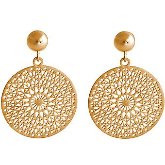 Gemshine ladies earrings Yoga mandala circle around 2.5 cm in silver, high-quality gold-plated or rose earrings - sustainable, quality jewelry made in Spain