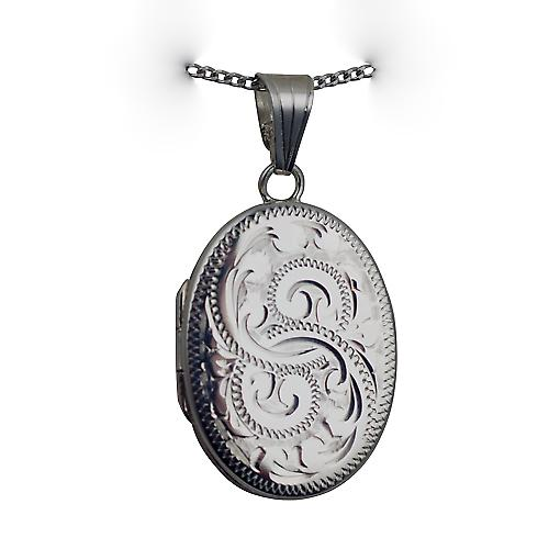 Silver 26x19mm oval flat hand engraved Locket with a curb Chain 24 inches