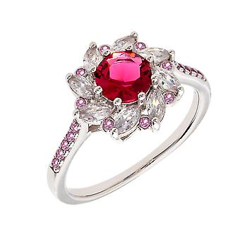 Bertha Juliet Collection Women's 18k WG Plated Red Flower Fashion Ring Size 7