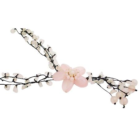 This Classy Rose Quartz Flower Necklace Has Fine Pink Holiday Gift