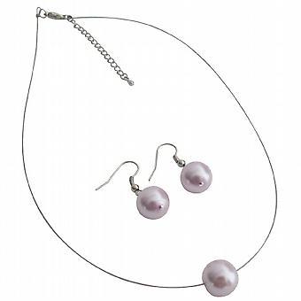 Mauve Single Pearl Necklcae Earrings Set Variety Jewelry
