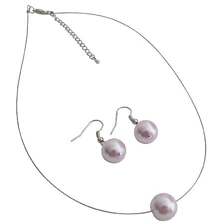 Mauve Single Pearl Necklcae Earrings Set Variety Jewelry