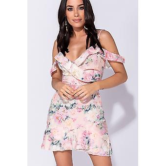 Ganske i rosa kald skulder kjole