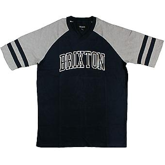 Brixton Ltd Victor Men's T-Shirt Heather Grey Navy