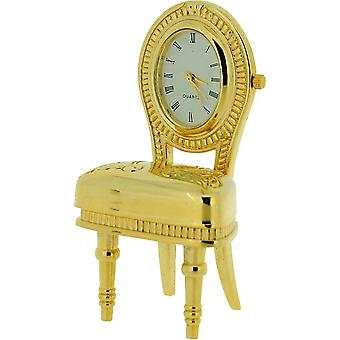 Miniature Goldtone Plush Dining Room Chair Novelty Collectors Clock IMP1063