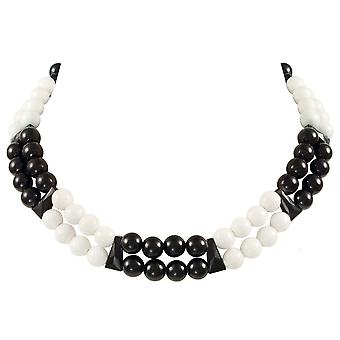 Eternal Collection Finale Black/White Mountain Jade And Crystal Statement Necklace
