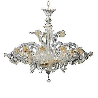 Idealne Lux - szklane Amber Rialto i złota Metal osiem Light Świecznik IDL004099