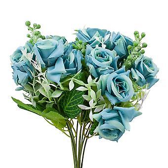 2-Pack Kunststoff Blumenstrauß, Rosen-blau