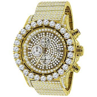 High quality FULL ICED OUT cubic zirconia stainless steel watch - gold
