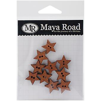 Wooden Buttons 10/Pkg-Stained Stars .75