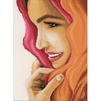 LanArte Woman With Scarf On Cotton Counted Cross Stitch Kit-8.75