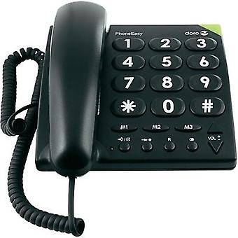 Corded Big Button doro doro PhoneEasy 311c schwarz Visual call notification, Hands-free No display Black