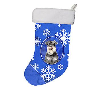 Winter Snowflakes Holiday Schnauzer Christmas Stocking