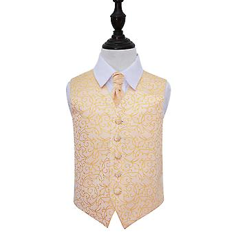 Boy's Gold Swirl Patterned Wedding Waistcoat & Cravat Set
