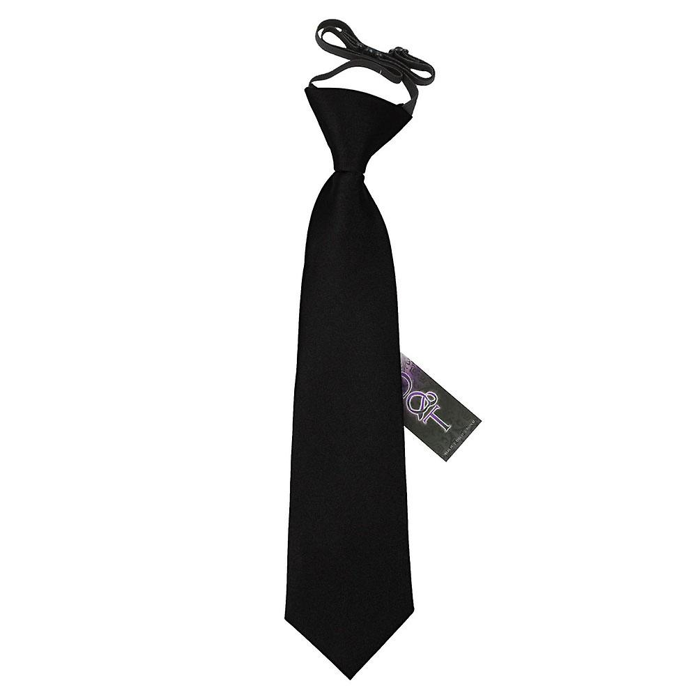 Boy's Black Plain Satin Pre-Tied Tie (2-7 years)