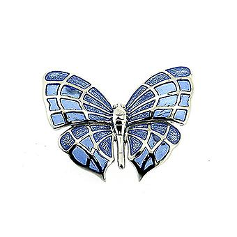 Fine Enamels Sterling Silver and Blue Enamel Butterfly Brooch
