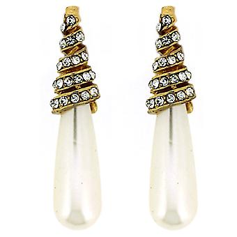 Gold & Crystal Swirl & Pearl Cone Drop Earrings