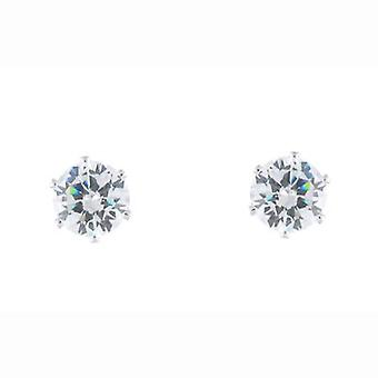 Silver and Clear Cubic Zircon Crystal Stud Earrings