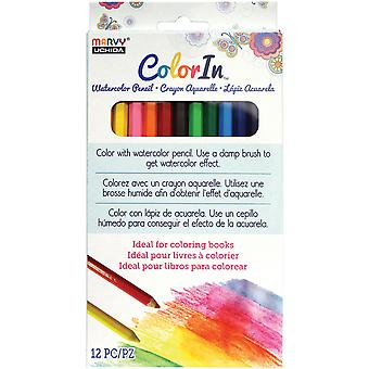 Color In Watercolor Pencil Set 12pcs-Assorted Colors 4600-12A