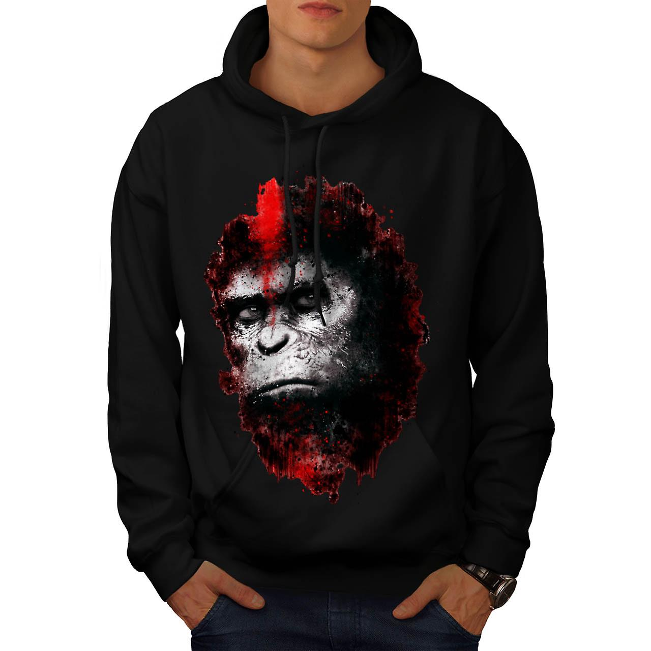 Face Of Apes Print Angry Planet Men Black Hoodie | Wellcoda