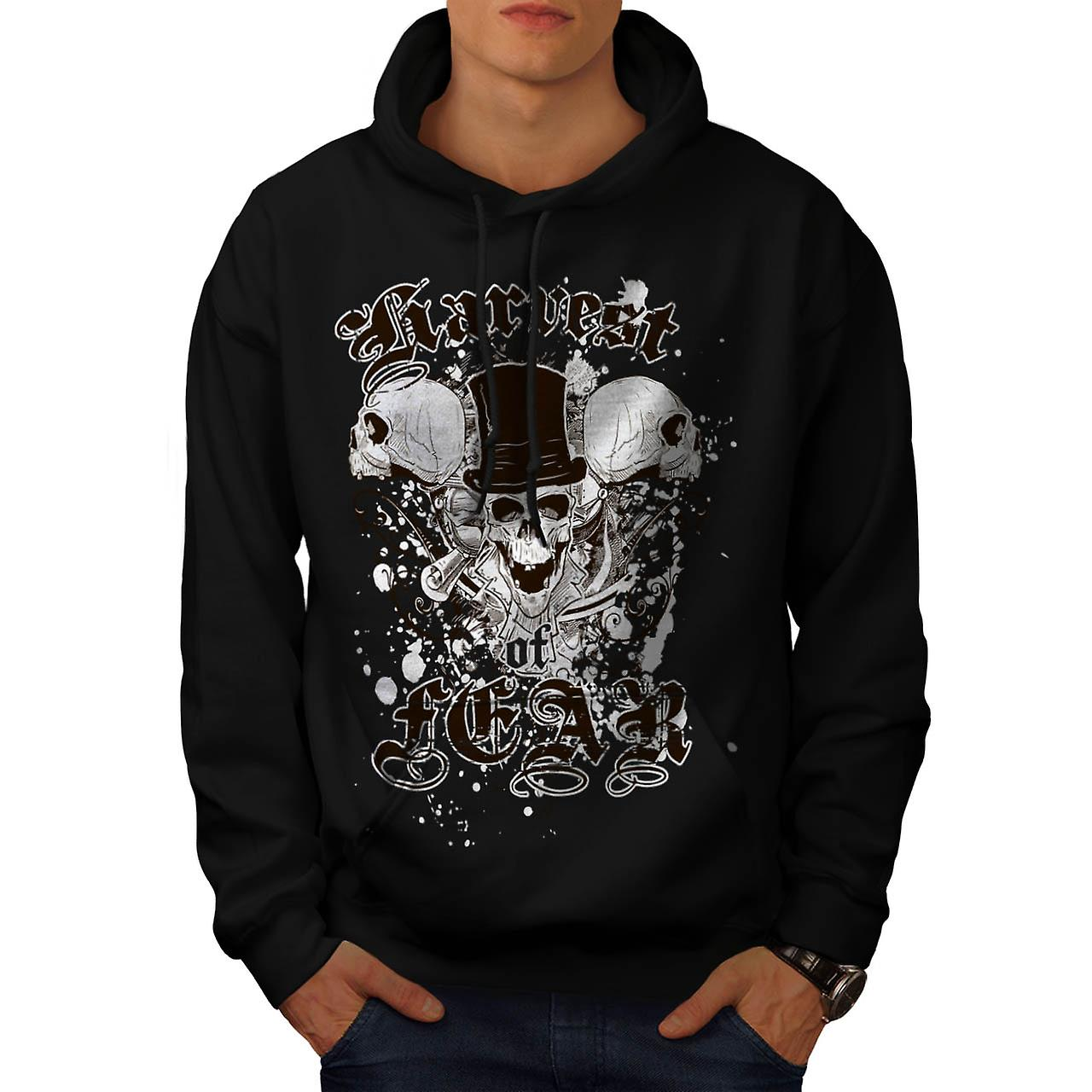 Harvest Fear Death Skull Skeleton Men Black Hoodie | Wellcoda