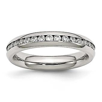 Stainless Steel Polished 4mm April Clear Cubic Zirconia Ring - Ring Size: 6 to 9