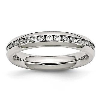Acero inoxidable pulido 4mm abril claro Cubic Zirconia anillo - tamaño del anillo: 6 a 9